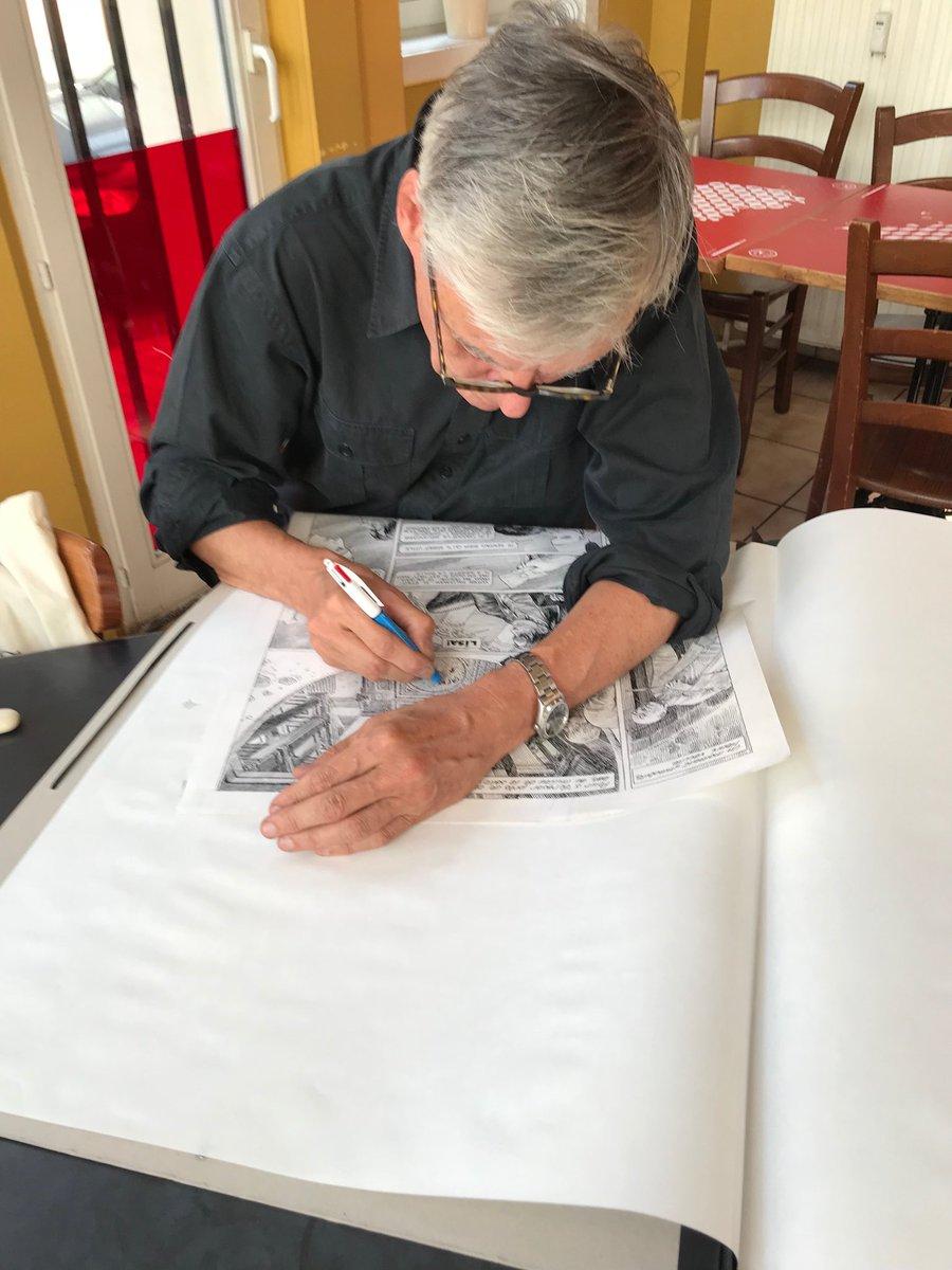 François Schuiten working on Blake & Mortimer