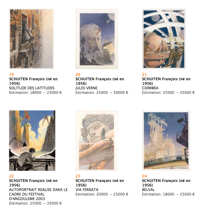 Fourth set Artwork by François Schuiten going for auction