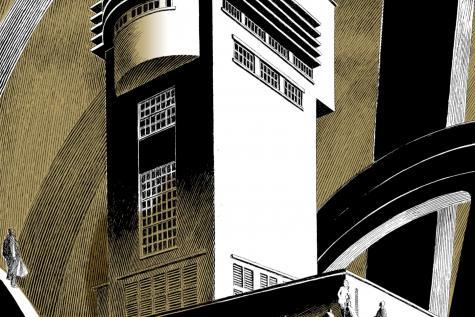 La tour Saint-Albert de Binche est menacée de destruction. L'artiste en présente deux sérigraphies originales. Photo Patricia Mathieu.