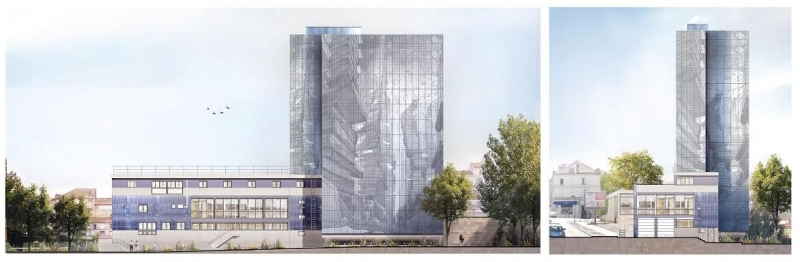 Les images de synthèse du bâtiment habillé d'une seconde peau de métal. A gauche, la vue des quais SNCF et de la médiathèque l'Alpha. A droite, la vue avenue De Lattre de Tassigny, en remontant de la gare© PHOTO FREDERIQUE BUA / TROISEL