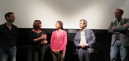 Présentation du film à Erlangen. De g. à dr. Sebastian Feld, Anne Baltus, une traductrice, Benoit Peeters et le réalisateur Michael Rösel
