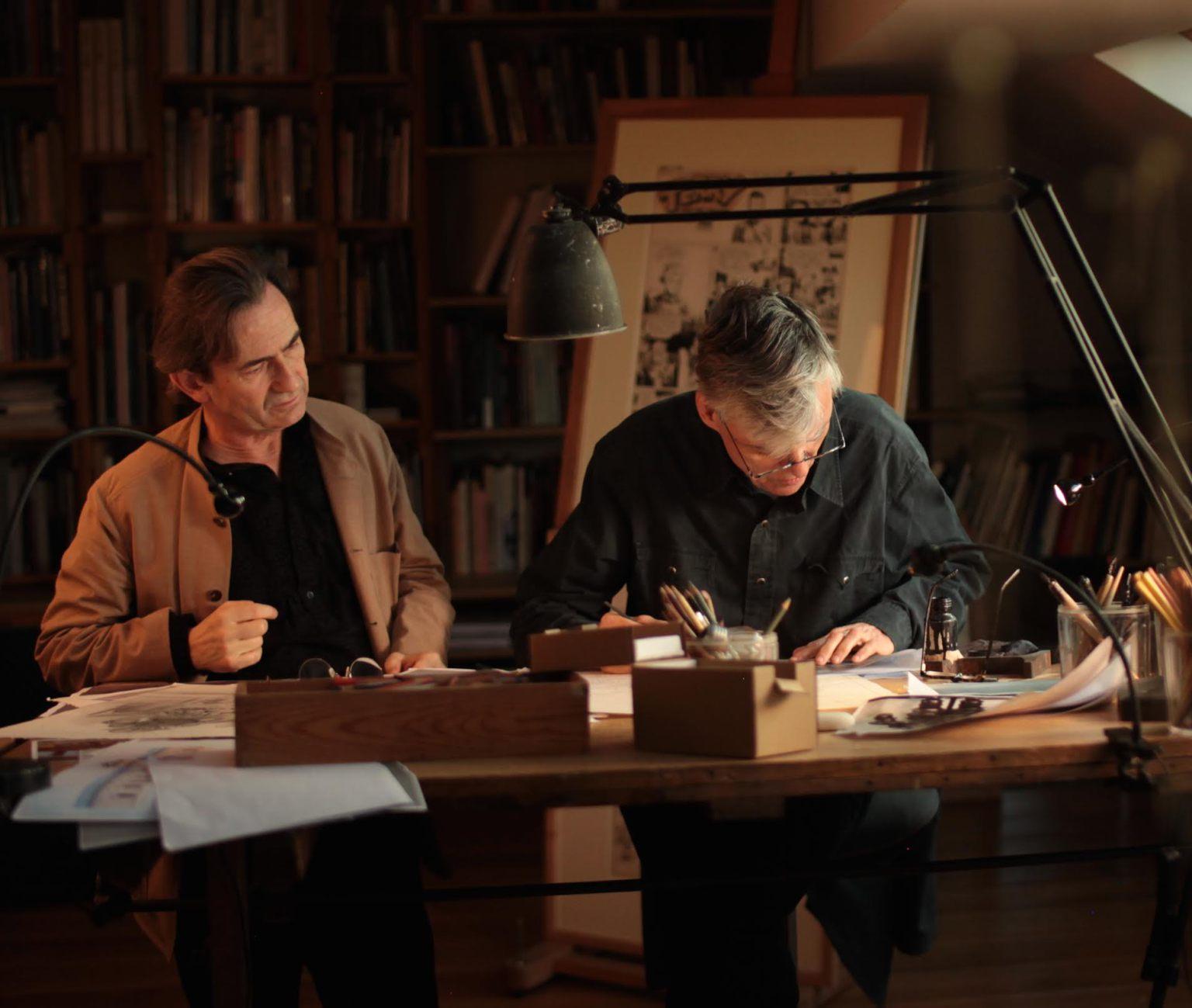 François Schuiten et Benoît Peeters au travail. Photo: Vladimir Peeters