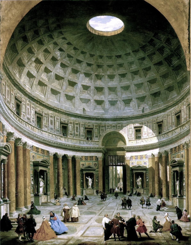 """Giovanni Paolo Panini, """"Intérieur du Panthéon"""", 1747. À cette époque, l'architecture du Panthéon représente l'héritage de la civilisation antique qui inspire les Lumières."""