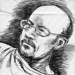 Benoît Sokal by Francois Schuiten. The drawing is made during a working session on Aquarica in April 2014