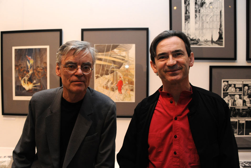 Schuiten and Peeters in front of their exhibition