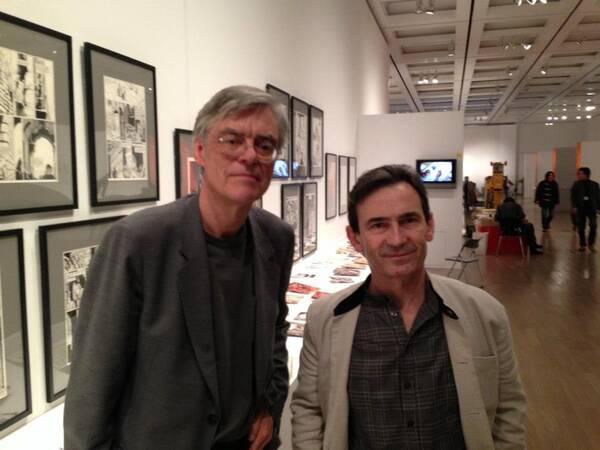 François Schuiten and Benoît Peeters in front of the exhibition