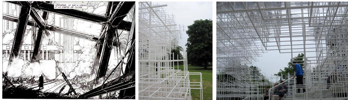 Serpentine summer pavilion versus Schuiten's Urbicande